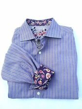 Robert Graham Shirt Tan Purple  Striped Contrast Flip Cuff Floral M Long Sleeve