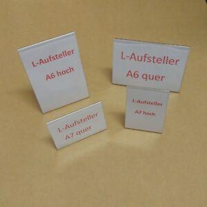 L-Aufsteller Format A6 / A7 Quer- oder Hochformat Preisschilder Tischaufsteller