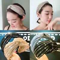 Fashion Women's Sequin Knot Headband Hairband Cross Wide Hoop Hair Accessories