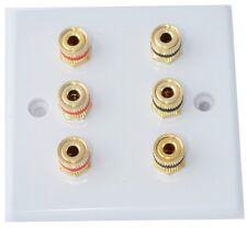 Slimline Blanco 3.0 Placa de pared de altavoces Av Audio Oro 6 puestos de unión Sin soldadura