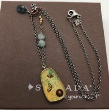 "Silpada Shadowbox Necklace N2433 18"" Sterling Kyanite Turquoise Silver .925 NEW"