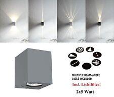Designer 2x5W LED Wandleuchte Canto Kubi Nordlux grau wall Up Down + Lichtfilter