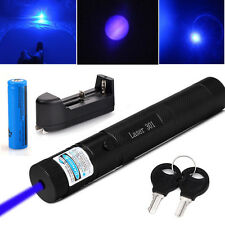 Military 5mW 405nm Blue Purple Laser Pointer Lazer Pen +18650 Battery+Charger Us