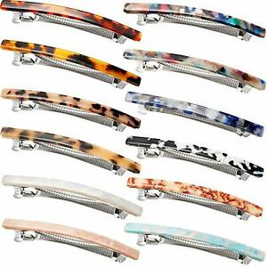 12 Pieces Hair Clip French Hair Barrettes Skinny Tortoise Shell Automatic Hair