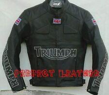 Men Custom Full  Black Motorcycle Leather Jacket Safety Pads For Triumph UK Flag