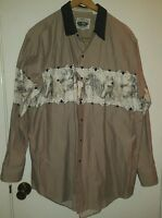 Cumberland Outfitters Western Pearl Snap Long Sleeve Shirt Horses Tan White Nice