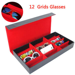 12 Slot Grid Eyeglass Display Storage Stand Case Box Holder Sunglass Glasses