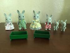 Vtg Lot 6 Grey Rabbit Calico Critters Sylvanian Family Flocked Animal Epoch