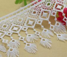 White Embroidered 9cm Trim Tassel Fringe DIY Lace Craft Price per 30cm Sewing