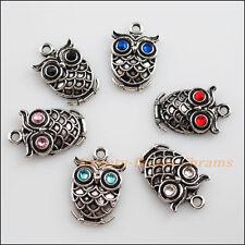 6 New Tibetan Silver Charms Mixed Crystal Animal Owl Pendants 15x24mm