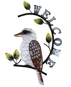 Kookaburra on Tree Branch Welcome Sign Metal Hanging Wall Art Garden Décor 45 cm