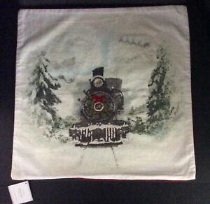 "Pottery Barn NOSTALGIC SANTA TRAIN Pillow Cover 20x20"" Christmas New Holiday"