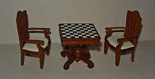 Schachtisch mit 2 x Stuhl 1:12 , Puppenmöbel , Puppenstube , Möbel, Set