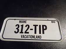 Vintage 1980 Cereal Mini Bicycle License Plate Maine Vacationland