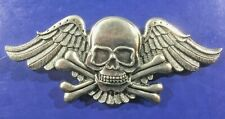 Winged Skull & Crossbones Belt Buckle Biker Rocker Style
