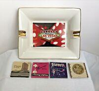 Las Vegas Mid-Century Mod Ashtray + Matchbooks,Dunes,Stardust,Flamingo,Caesars