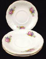Royal Kent Poland Porcelain 3 Saucers Only Floral Enchantment Roses Gold Trim