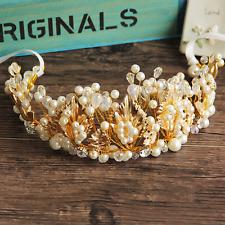 Luxury Women Rhinestone Pearl Gold Leaf Crown Bridal Wedding Hair Band Headband