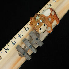 HANDMADE WOODEN RULER, cms & inches. SLIDING COW & GATE DESIGN by NAMESAKES