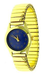 New Women's Impress Quartz Watch Blue Numeric Dial Gold SSteel Stretch Bracelet