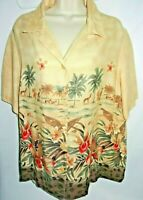 Alfred Dunner Woman Tan Safari Blouse Print Button Down Shirt 18W Floral Animals