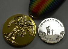 Collectable WW1 Great War Victory Medal & Silver Armistice Commemorative Set