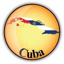 Cuba Map Flag Label Car Bumper Sticker Decal 5'' x 5''