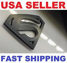 3D Matte Black 【 Superman 】 Emblem TYPE 【S】 Car Logo Badge Bonnet Sticker Decal