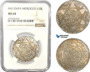AD972, Morocco, Yusuf, 1/2 Rial AH1336-Pa (1918) Paris, Silver, NGC MS64