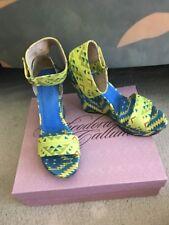 Theodora & Callum By Stuart Weitzman Mustique Blue Sun Linen Wedge Sandals Sz9