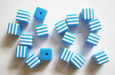 30 Acrylic Candy Stripe Cube Beads - Blue & White - 8mm