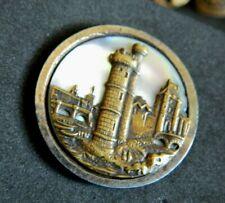 Antique Victorian Steel Cup w Iridescent PEARL Button LeTour de Nesle Paris