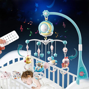 Baby Musical Crib Mobile, Projection Function and Night Light, Hanging Rotating