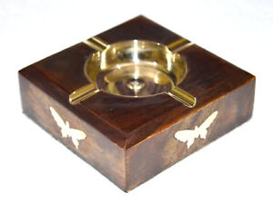 SQUARE SHAPE 4 CIGARS WOODEN STAND ASHTRAY WITH BRASS ASH ROUND BOWL