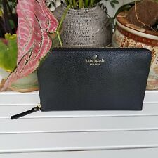 KATE SPADE Grand Street Zip TRAVEL WALLET,LARGE LEATHER,BLACK,NWT $248