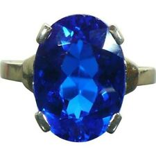 6Ct Oval Cut Sapphire Solitaire Statement Cocktail Ring White Gold Finish Silver
