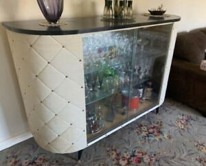Retro Bar Cabinet with Glass Doors, Glass Shelves & Mirror Backing