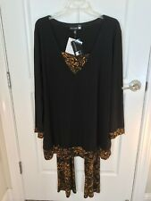 NWT ANTTONY ORIGINALS 2 PC OUTFIT TUNIC TOP WITH PRINTED PANTS BLACK PLUS SIZE 2