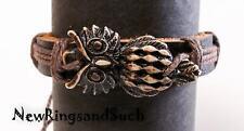 Horned Owl Leather Wrist Bracelet