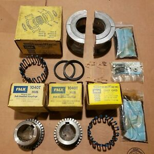 Complete Falk Rexnord 1040T Coupling Set & Spare Grid w/3 Hubs 1-3/8 1-1/2 1-5/8