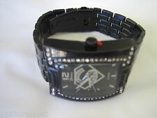 NEW Men's Superman BLING Hip Hop Watch - Jeweled & Black Band + Free Battery