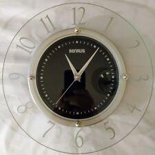 """Benrus 11"""" Wall Clock Glass Contemporary Design Home Decor"""
