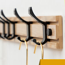 Wooden Wall Hook Shelf 3 Hangers Coat Hat Bag Clothing Hanger Key Holder Rack