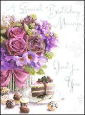 JONNY JAVELIN- VELVET- FLORAL BIRTHDAY CARD - DELUXE EMBOSSED - FEMALE - V66