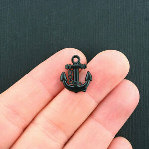 5 Anchor Charms Gorgeous 2 Sided Black Enamel Finish - E164