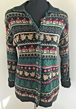 Hand-Knitted Embroidered Sweater Sz PS Signatures Northern Isles Green Brown