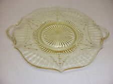 "Vintage Yellow Depression Glass Cookie Plate Approx Size 11"" Plus Handles"