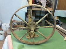 "RARE antique iron wheel 16"" with sprocket & Bushings Steampunk light fixture"