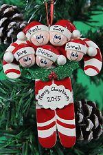 Personalizado De Árbol De Navidad Decoración Ornamento Candy Cane familia 5