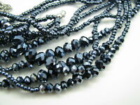 New METALLIC NAVY BLUE Beaded Necklace THREE-STRAND Faceted Stations FLASHY!